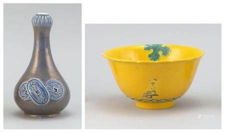 JAPANESE VASE AND BOWL 1) Studio porcelain gourd-form vase attributed to Makazu Kozan, with relief coin design and fine gilt wave de...