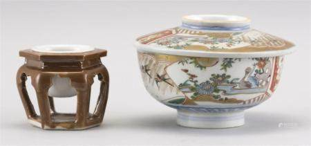 """TWO PIECES OF JAPANESE PORCELAIN 1) Covered Imari bowl with a bird and flower design. Diameter 5.25"""". 2) Brown and white Hirado sake..."""