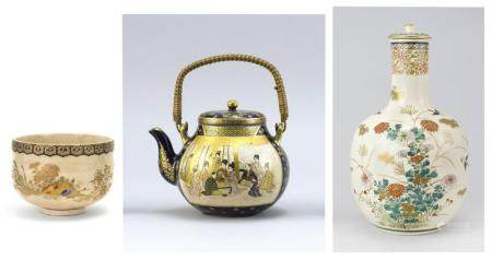 """THREE PIECES OF JAPANESE SATSUMA POTTERY , 1) Circa 1905 tea bowl by Masataro Keida, decorated with flowers and a fan beneath a brocade band. Signed. Diameter 4.4""""., 2) Meiji Period teapot with figural landscape scene..."""