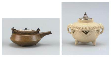 TWO JAPANESE POTTERY ITEMS
