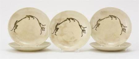 "SET OF FIVE JAPANESE SATSUMA POTTERY PLATES In ""Three Monkey"" design. Potter's mark on base. Diameters 6.5""."