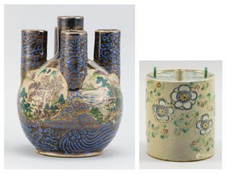 TWO JAPANESE AWADA KYOTO POTTERY ITEMS 1) Ovoid hyacinth vase, with five cylindrical spouts and Kutani-style decoration on body with...