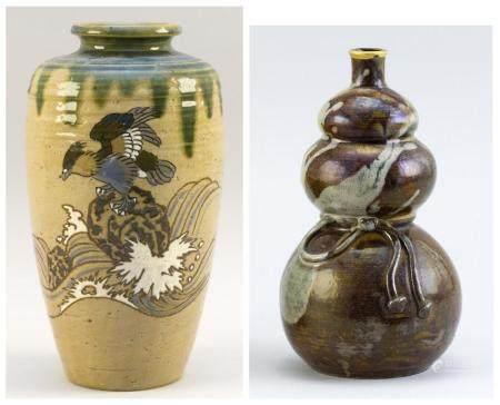 JAPANESE ENAMELED SETO WARE POTTERY VASE AND SAKE BOTTLE Vase in Oribe style, with a hawk and wave design. Sake bottle in triple gou...