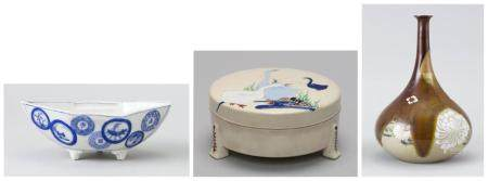 """THREE PIECES OF JAPANESE CERAMICS 1) Early 20th Century Hirado porcelain boat-form footed bowl with rondel design. Length 7"""". 2) Lat..."""