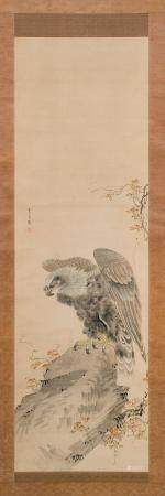 JAPANESE SCROLL PAINTING ON SILK Late 19th Century
