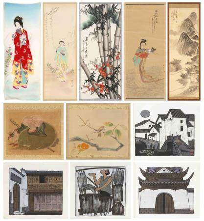 TWELVE ASIAN ART WORKS , 1) Chinese scroll painting on paper depicting pine, prunus and bamboo., 2) Japanese scroll painting on silk depicting mountains and cottages.