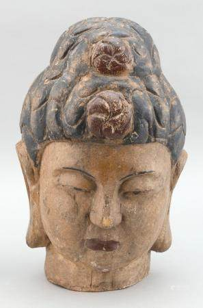 CARVED WOODEN BUDDHA'S HEAD 20th Century