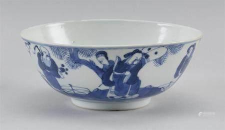 "CHINESE BLUE AND WHITE PORCELAIN BOWL Figural landscape design. Diameter 7.2""."