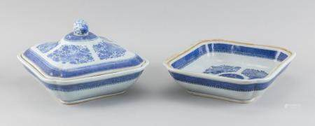 TWO CHINESE EXPORT BLUE AND WHITE NANKING PORCELAIN VEGETABLE DISHES Second Half of the 19th Century