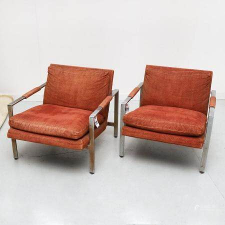 Milo Baughman, pair chrome lounge chairs