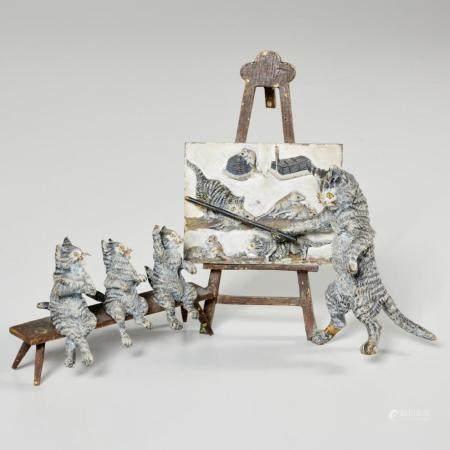 Austrian cold painted bronze miniature, cat school