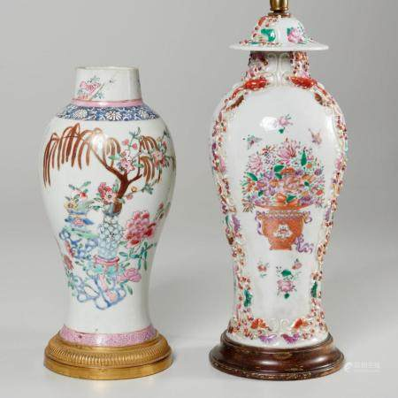 (2) Chinese Export polychrome porcelain jars