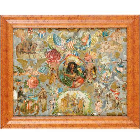 American decalomania Folk Art collage
