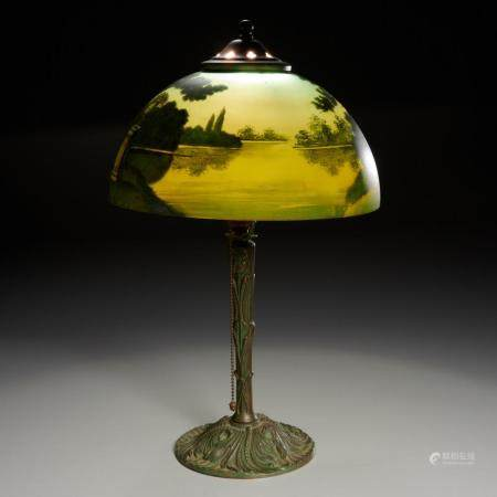 Phoenix Lamp Co., reverse painted table lamp