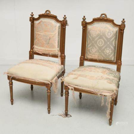 Pair antique Louis XVI style side chairs