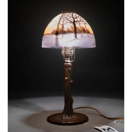 Handel obverse painted boudoir lamp, #5624