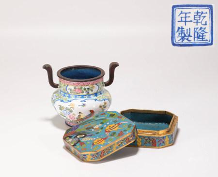 清代銅胎琺琅彩爐。印泥盒