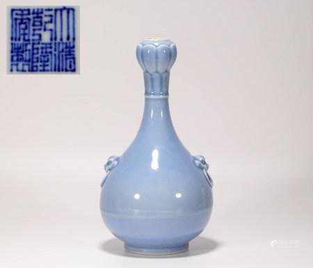 清代天藍釉雙耳頸瓶