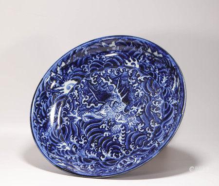 明代青花海水紋盤