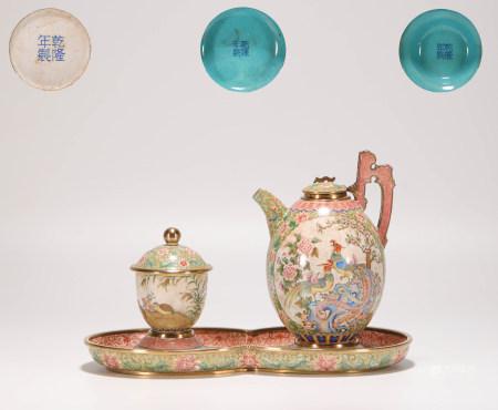 清代銅胎琺琅彩花鳥壺一套