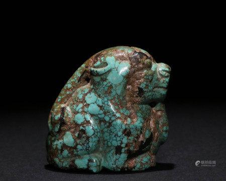 清代原矿绿松石雕件
