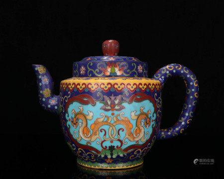 明代 蓝地珐琅彩紫砂壶