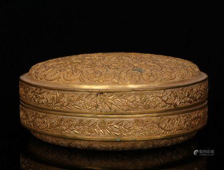 清代铜鎏金盖盒
