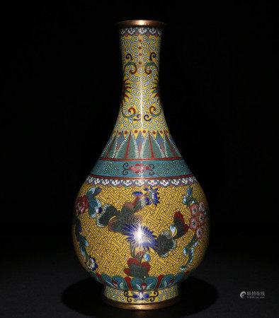 民国 铜掐丝景泰蓝花纹胆式瓶
