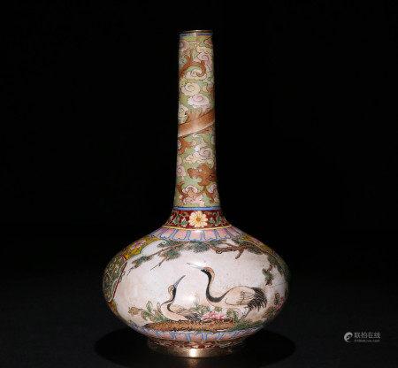 清代铜画珐琅高颈瓶