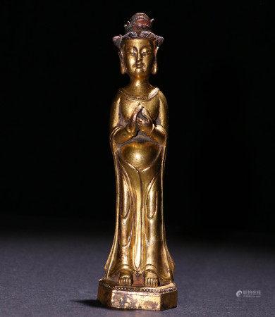 北魏铜鎏金站像