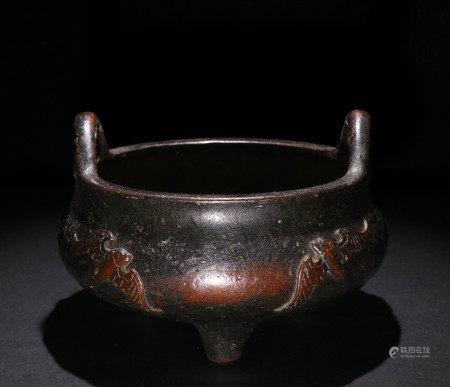 清代三足铜炉