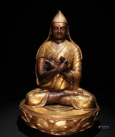 清代铜鎏金坐像