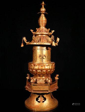 辽代铜鎏金舍利子塔