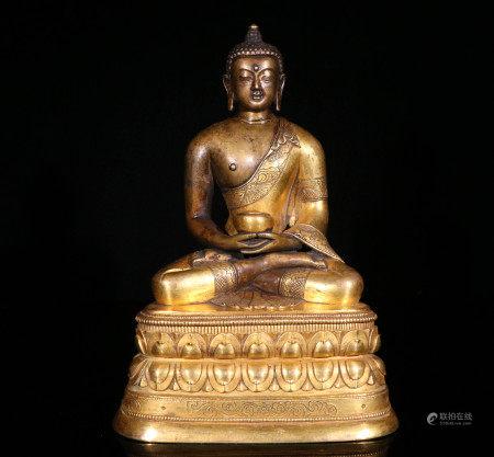 清代铜鎏金造像
