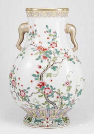 清光緒 粉彩花卉紋象耳海棠扁瓶