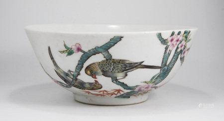 清光緒 粉彩鸚鵡紋碗