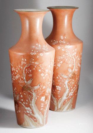 清 礬紅地留白描金喜鵲登梅紋觀音瓶(一對)