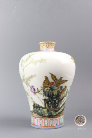 "Chinese Famille Rose ""Flower And Bird"" Porcelain Plum Bottle"