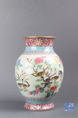 "Famille Rose ""Flower And Bird"" Porcelain Bottle"