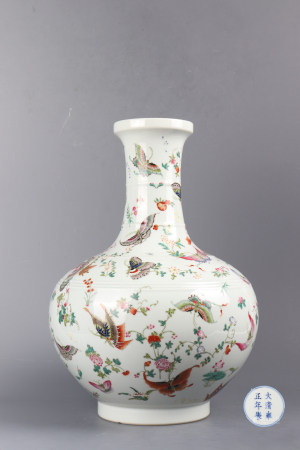 "Famille Rose ""Butterfly"" Porcelain Bottle"