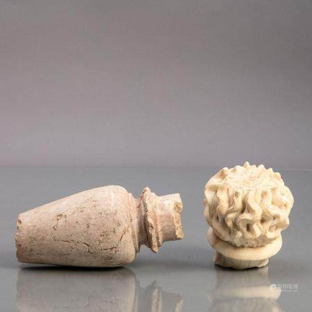 TWO MARBLE FRAGMENTS