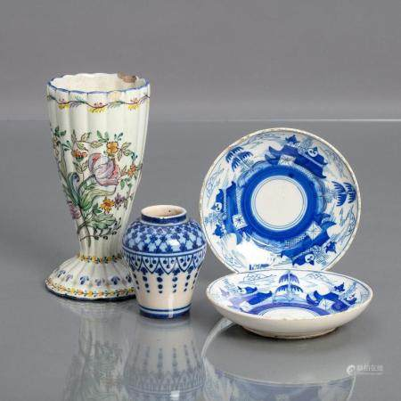 PAIR OF SMALL PLATES AND TWO VASES