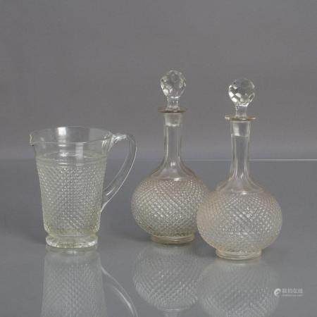 PAIR OF BOTTLES AND JUG
