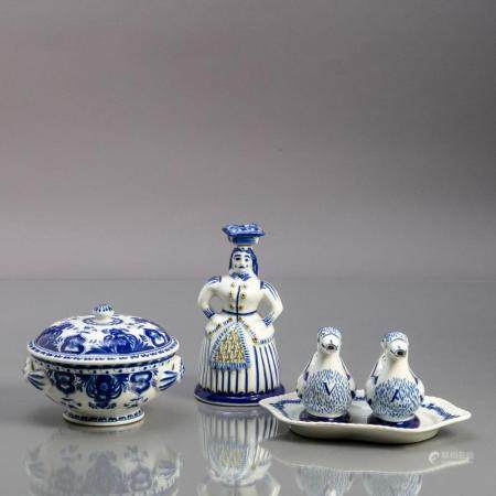 "CRUET ""DUCKS"", BOTTLE ""WOMAN"" AND ROUND TERRINA"
