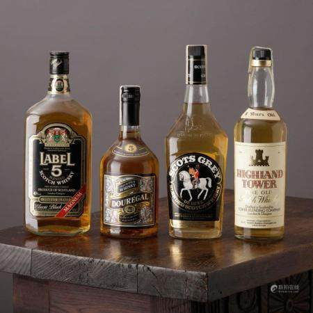 WHISKY LABEL 5, HIGHLAND TOWER 5 YEARS, DOUREGAL 5 YEARS AND SCOTS GREY DE LUXE
