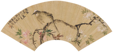 王禮(1813-1879) 花開白頭扇面
