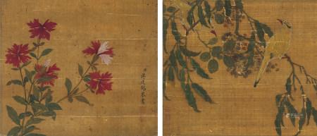 蔣廷錫(1669-1732)・佚名 花鳥两幅