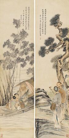 錢慧安(1833-1911) 漁農圖軸
