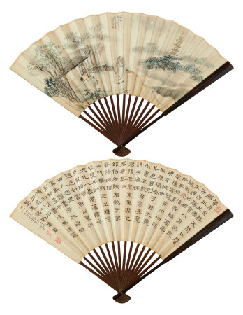 顧讓(1857-1931)、卞綍昌(1873-1946)書畫合璧成扇