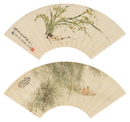 姚虞琴(1867- 1961)風景人物扇面等 五幅